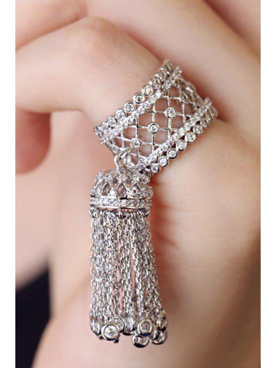 affordable Rhinestoned Hollow Out Tassel Ring - WHITE GOLDEN ONE-SIZE