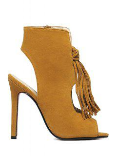 Tassel Hollow Out Peep Toe Shoes - Brown 40