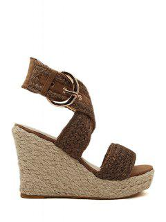 Weaving Cross-Strap Wedge Heel Sandals - Brown 38