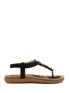 Beading Elastic Flat Heel Sandals - Black 40
