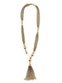 Vintage Link Chain Tassel Sweater Chain - Golden