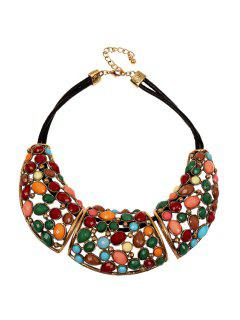 Colorful Faux Gemstone Decorated Necklace