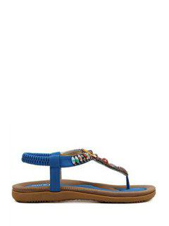 Colorful Beads Flat Heel Sandals - Blue 41