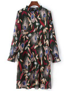 Feather Print Ruff Collar Long Sleeve Dress - Black L
