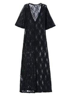 Perspective High Slit Plunging Neck Half Sleeve Lace Dress - Black L