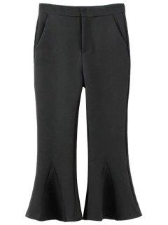 Solid Color Cropped Flare Pants - Black L