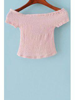 Fitted Off The Shoulder Short Sleeve Crop Top - Pink