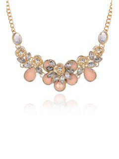 Faux Gemstone Rose Decorated Necklace - Light Pink