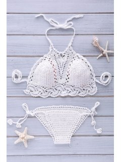 Halter Solid Color Crochet String Bikini Set - White