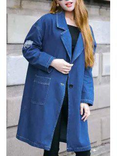 Blue Denim Lapel Neck Long Sleeve Coat - Blue L