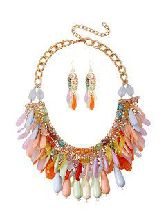 Colorful Multi-Layered Tassel Necklace And Earrings