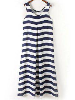 Stripe Scoop Neck Maxi Sundress - Blue And White Xl