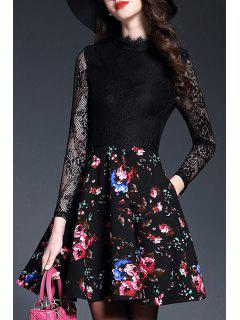 Lace Spliced Long Sleeve Tiny Floral Print Dress - Black L