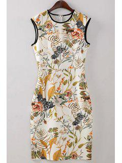 Floral Round Neck Bodycon Sundress - L
