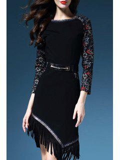 Tassles Spliced Round Collar 3/4 Sleeve Printed Dress - Black 2xl