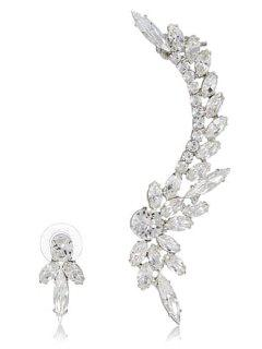 Asymmetric Rhinestoned Flower Earrings - White