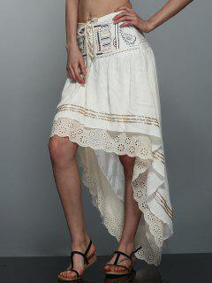 High-Low  Printed Asymmetric Skirt - Off-white L