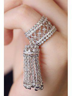 Rhinestoned Hollow Out Tassel Ring - White Golden One-size