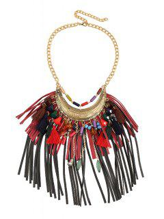 Ethnic Faux Leather Tassel Sweater Chain - Red