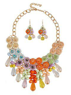 Colorful Acrylic Faux Crystal Drop Necklace And Earrings