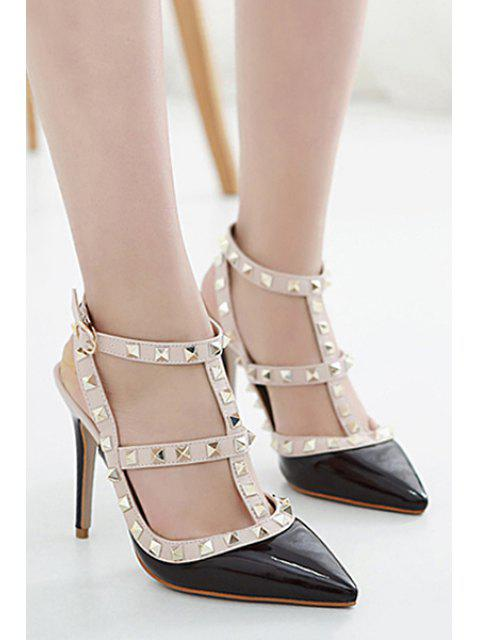 outfits Strap Rivet Pointed Toe Pumps -   Mobile