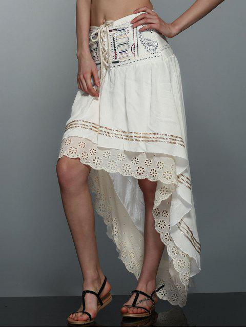 fancy High-Low  Printed Asymmetric Skirt - OFF-WHITE M Mobile