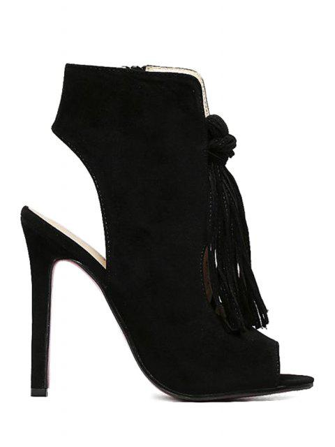 best Tassel Hollow Out Peep Toe Shoes - BLACK 39 Mobile