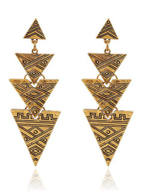 outfit Carving Stitching Triangle Drop Earrings -   Mobile