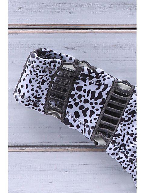 Halter Leopard Haut-Cut Bikini - Blanc L Mobile