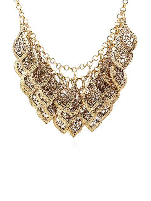 hot Multilayered Leaf Tassel Necklace - GOLDEN  Mobile