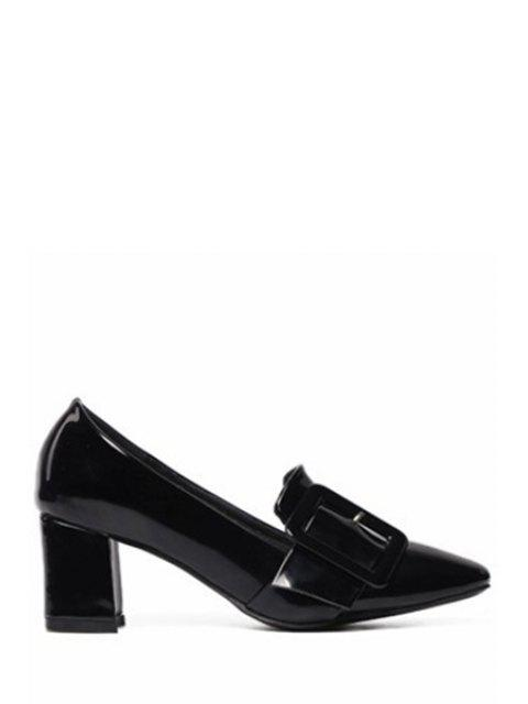 fancy Solid Color Buckle Chunky Heel Pumps -   Mobile