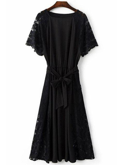 chic Combined Lace Flare Sleeve Dress - BLACK M Mobile