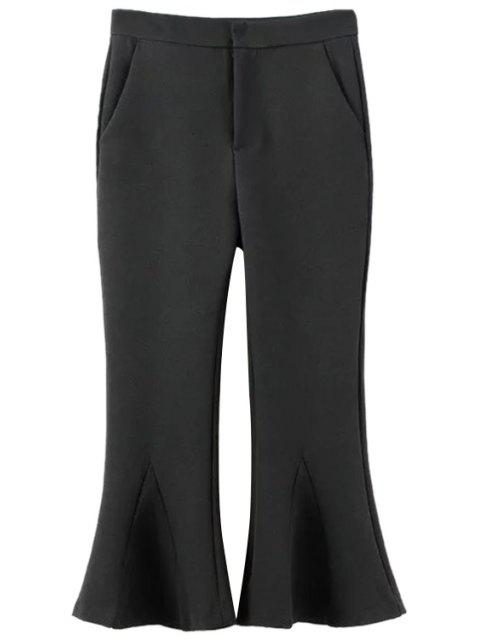 chic Solid Color Cropped Flare Pants - BLACK L Mobile