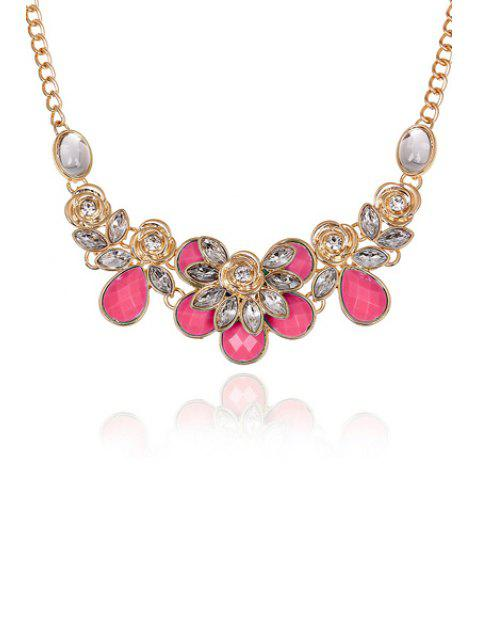 chic Faux Gemstone Rose Decorated Necklace - DEEP PINK  Mobile
