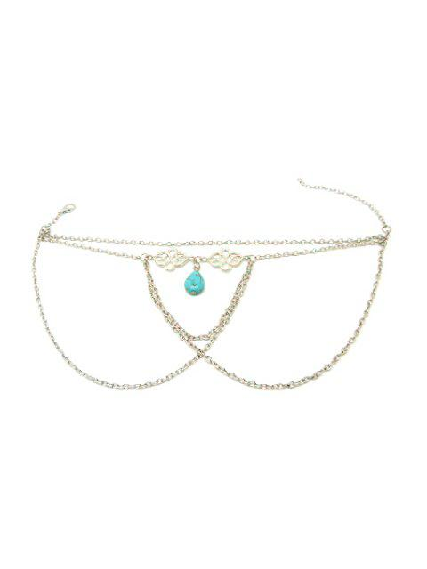 unique Ethnic Turquoise Water Drop Armlet - SILVER  Mobile