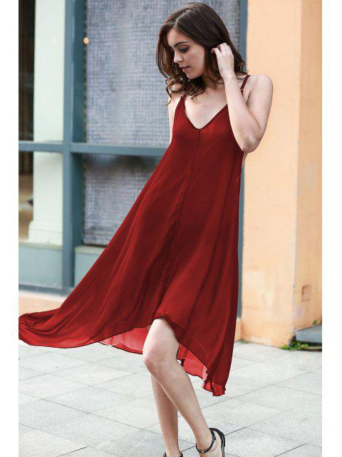 unique High Low Irregular Hem Spaghetti Straps Dress - WINE RED M Mobile