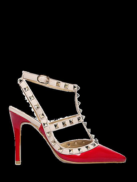 chic Strap Rivet Pointed Toe Pumps -   Mobile