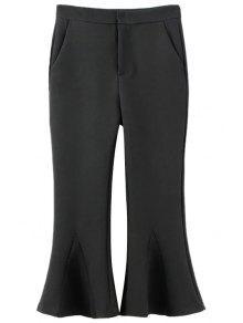Pantalones De Color Sólido Recortada De La Llamarada - Negro L