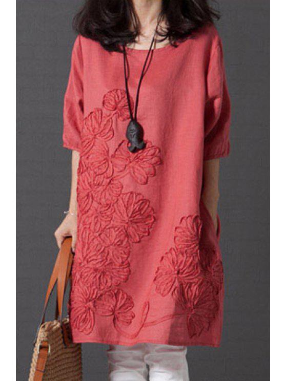Holgada de cuello redondo vestido de la media manga - Sandia Roja S