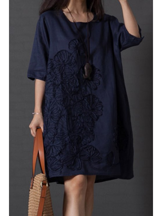 women's Smock Oversized V Back Dress - DEEP BLUE 2XL