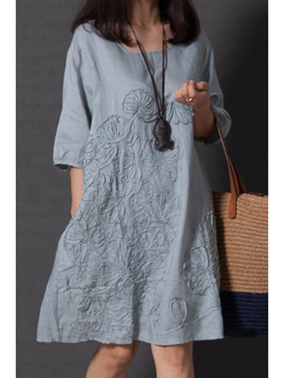 unique Smock Oversized V Back Dress - LIGHT BLUE XL