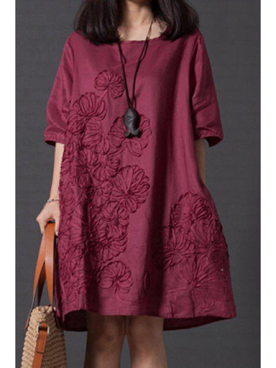outfit Smock Oversized V Back Dress - WINE RED 2XL