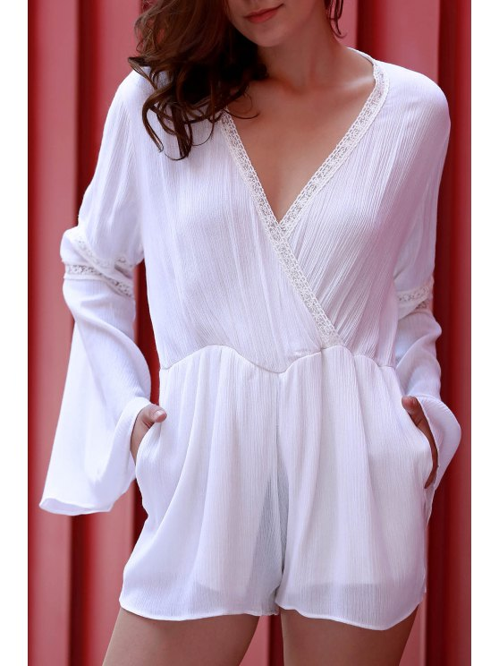 latest White Plunging Neck Flare Sleeve Romper - WHITE L
