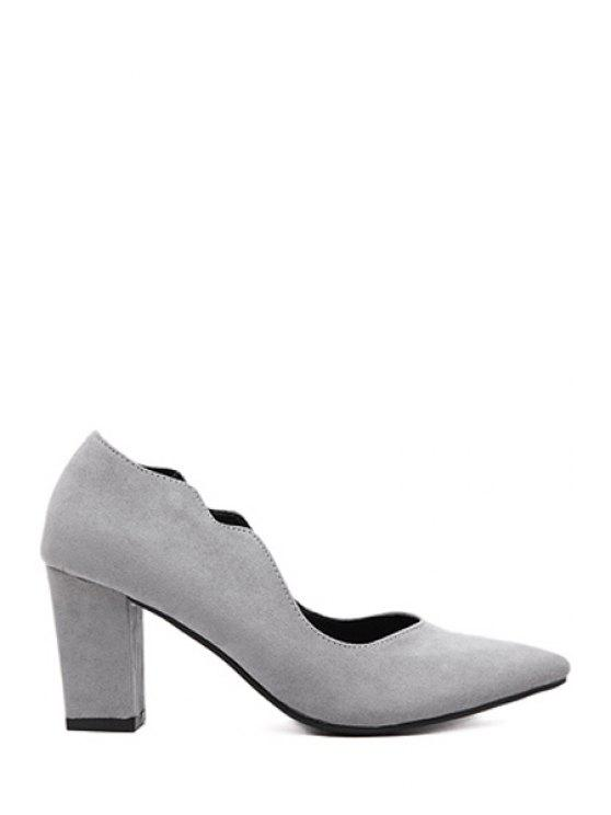 9cf8c56f25b 42% OFF  2019 Solid Color Flock Chunky Heel Pumps In GRAY