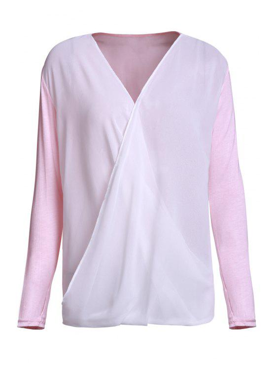 outfit Cross-Over Collar Draped Blouse - PINK XL
