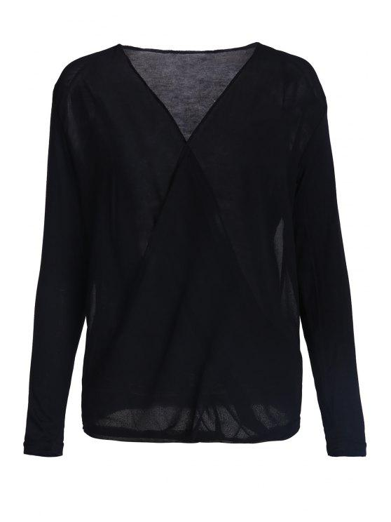 affordable Cross-Over Collar Draped Blouse - BLACK S