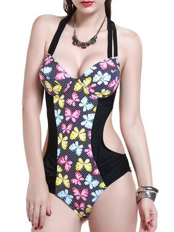 buy Printed Backless Halter One Piece Swimwear - BLACK L