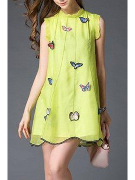 unique Butterfly Embroidery Stand Neck Sleeveless Dress - YELLOW L