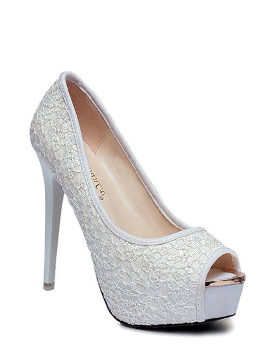 Plate-forme de dentelle talon aiguille Chaussures - Blanc 35