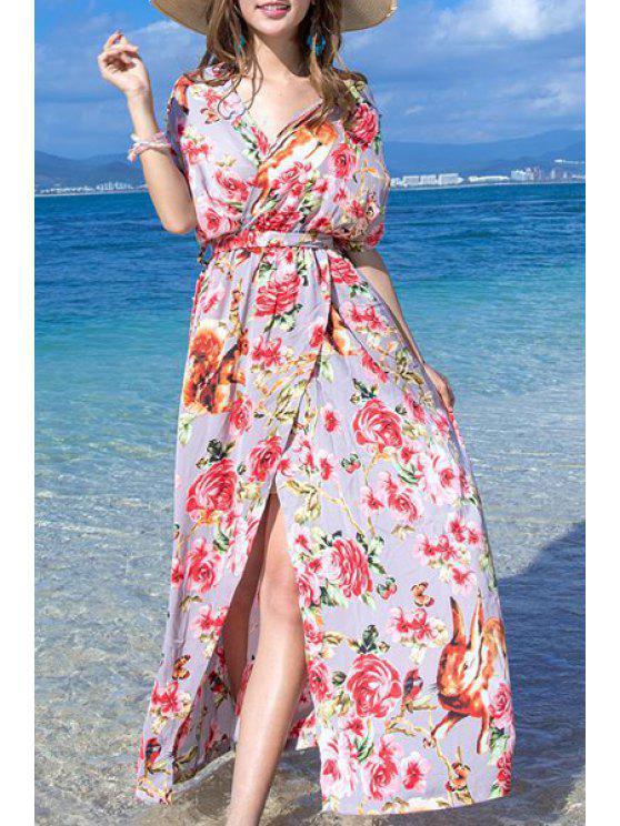 Floral Print Haut Slit Halter Robe sans manches - Rouge S
